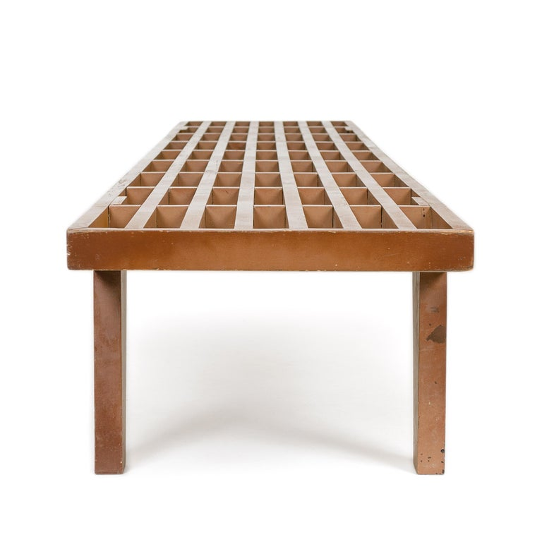 Painted 1950s Modernist Slat Bench For Sale