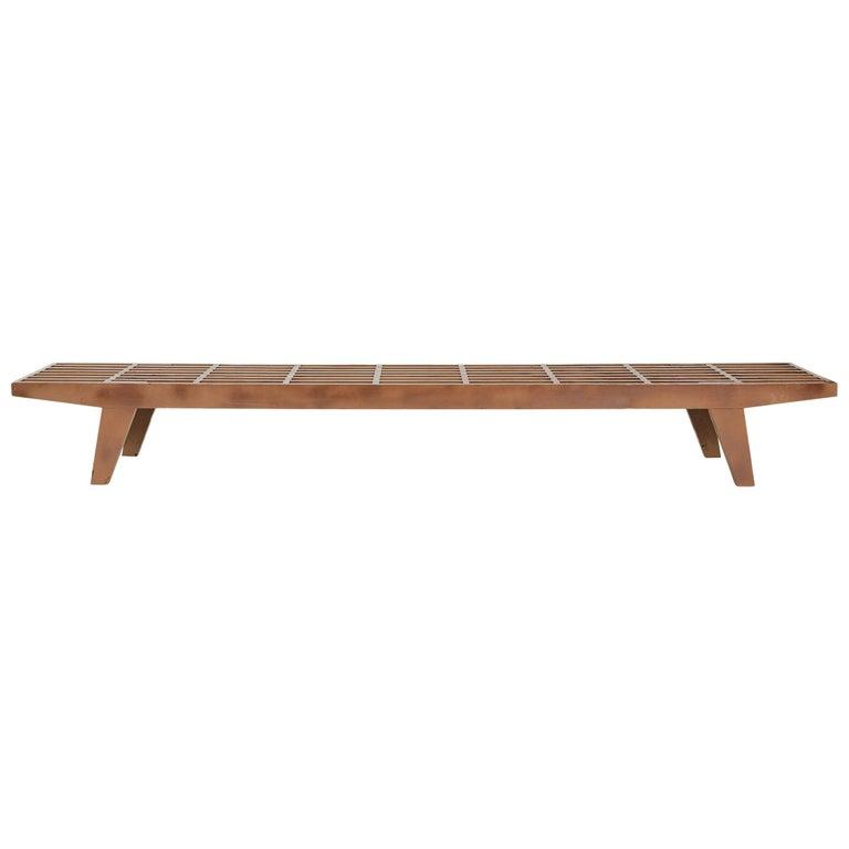 1950s Modernist Slat Bench For Sale