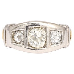 1950s Modernist Three-Stone Diamond Ring