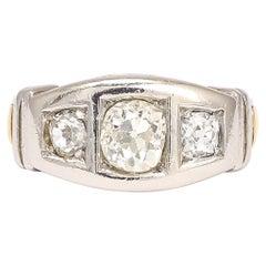 1950s Modernist Three-Stone Diamond Ring