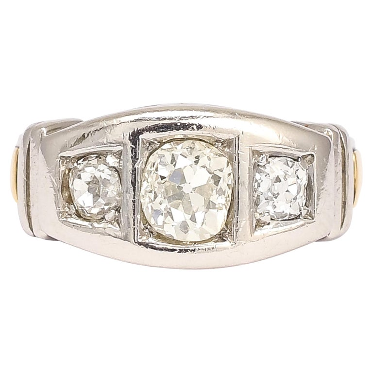 1950s Modernist Three-Stone Diamond Ring For Sale