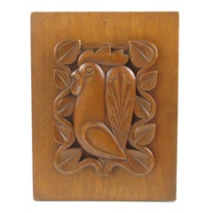 1950s Modernist Wooden Wall Art Sculpture Carved Rooster Panel