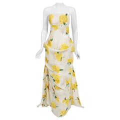 1950's Modes Royale Yellow Hydrangea Floral Print Silk Strapless Sculpted Gown