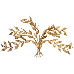 1950'S Monumental Italian Gold Floral Sheaf Wall Sculpture By Florentia