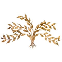 1950s Monumental Italian Gold Floral Sheaf Wall Sculpture by Florentia
