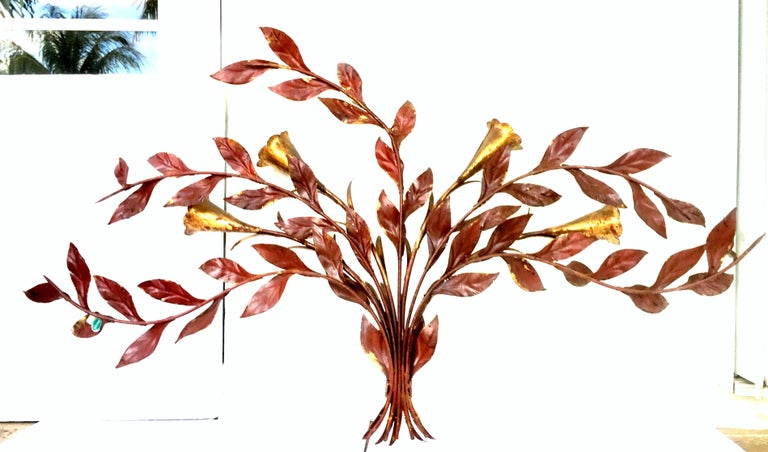 1950s Monumental Italian Gold Leaf Floral Sheaf Wall Sculpture by Florentia For Sale 5