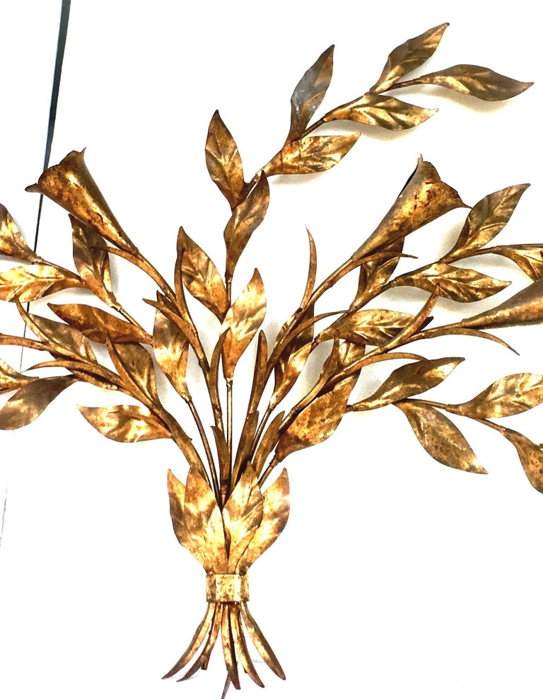 20th Century 1950s Monumental Italian Gold Leaf Floral Sheaf Wall Sculpture by Florentia For Sale
