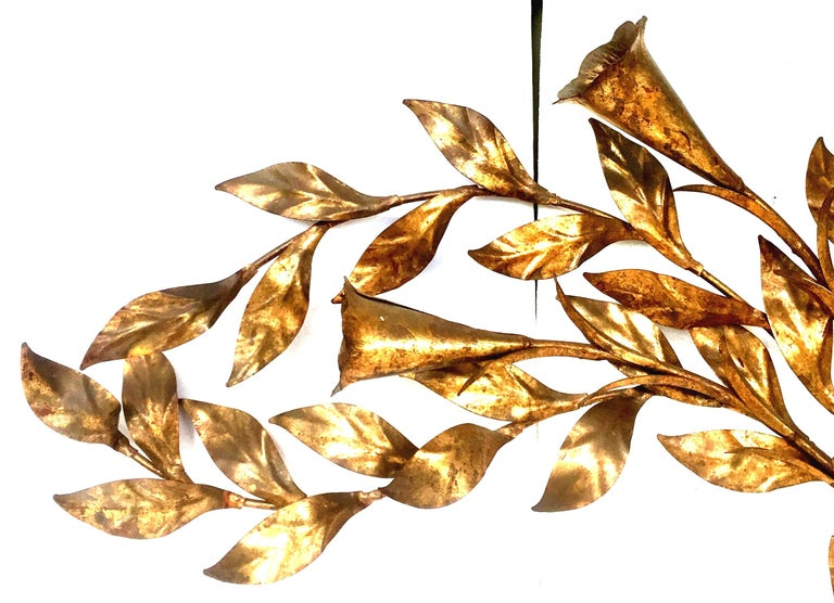 Brass 1950s Monumental Italian Gold Leaf Floral Sheaf Wall Sculpture by Florentia For Sale