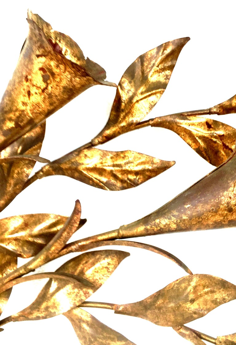1950s Monumental Italian Gold Leaf Floral Sheaf Wall Sculpture by Florentia For Sale 1