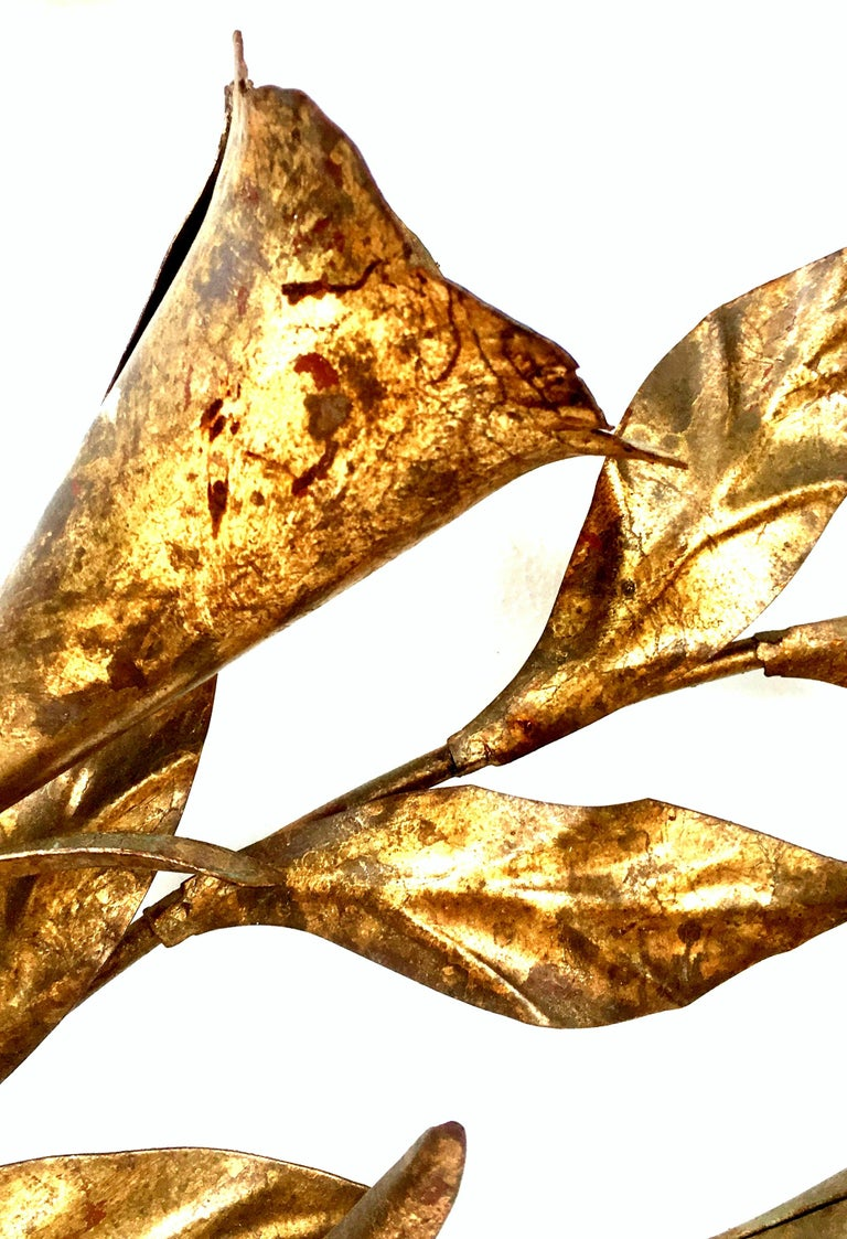 1950s Monumental Italian Gold Leaf Floral Sheaf Wall Sculpture by Florentia For Sale 2