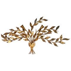 1950'S Monumental Italian Gold Leaf Floral Sheaf Wall Sculpture By Florentia