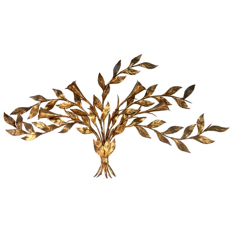 1950s Monumental Italian Gold Leaf Floral Sheaf Wall Sculpture by Florentia For Sale