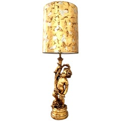 1950s Monumental Neoclassical Style Gold Figural Putti Lamp and Gilt Shade