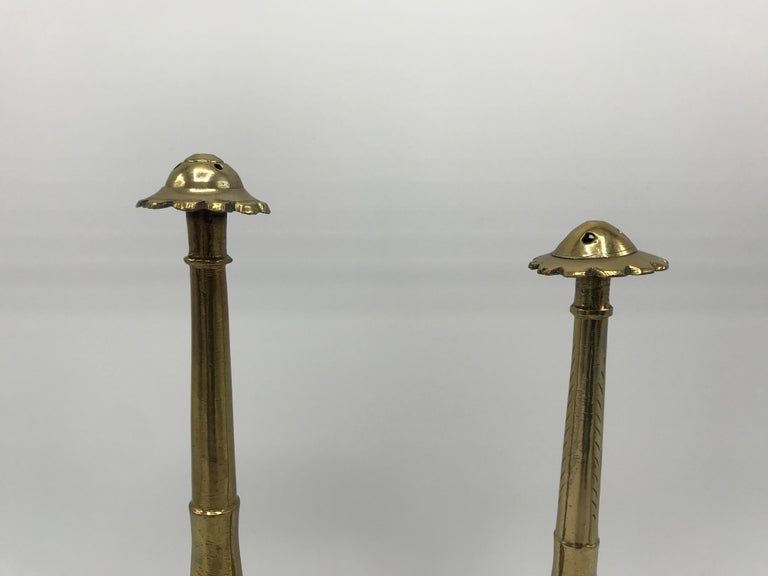 Modern 1950s Moroccan Brass Salt and Pepper Shaker Set, Pair For Sale