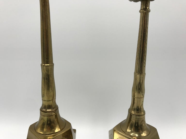 Hand-Crafted 1950s Moroccan Brass Salt and Pepper Shaker Set, Pair For Sale