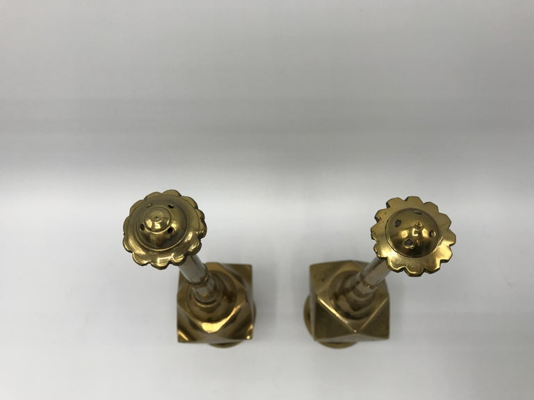 20th Century 1950s Moroccan Brass Salt and Pepper Shaker Set, Pair For Sale