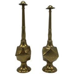 1950s Moroccan Brass Salt and Pepper Shaker Set, Pair