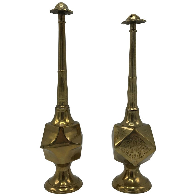 1950s Moroccan Brass Salt and Pepper Shaker Set, Pair For Sale