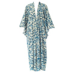 1950'S Morphew Collection Kaftan In Blue And White Printed Japanese Kimono Silk