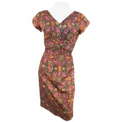 1950s Mosaic Printed Cocktail Dress