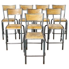 1950s Mullca High Laboratory Stacking Dining Chairs, Bar Stools, Set of Eight