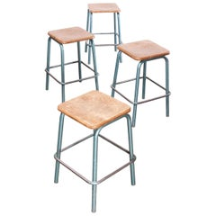 1950s Mullca Industrial French High Stacking Stools, Set of Four