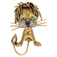 1950s Multi Gem Yellow Gold Lion Brooch