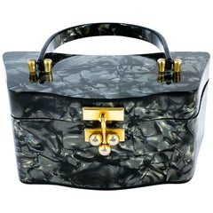 1950s Multi-Grey Marbleized Iridescent Colored Lucite Handbag