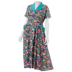 1950S Pink & Blue Floral Cotton Wrap House Dress XL With Pockets!