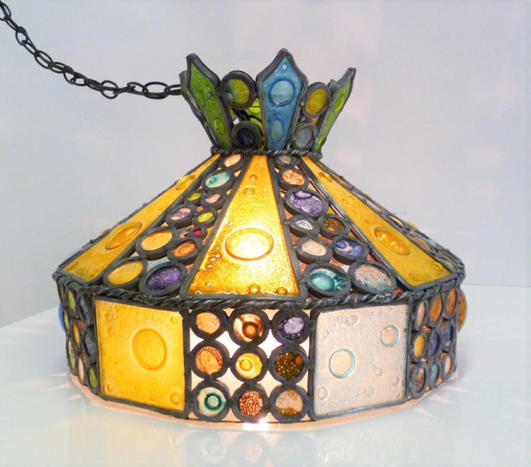 1950s Multi-Color Fused Glass Pendant in the Style of Higgins For Sale 2