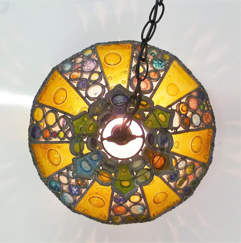 1950s Multi-Color Fused Glass Pendant in the Style of Higgins For Sale 4