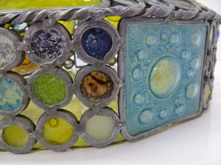 1950s Multi-Color Fused Glass Pendant in the Style of Higgins For Sale 7