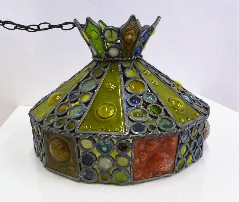 1950s Multi-Color Fused Glass Pendant in the Style of Higgins In Good Condition For Sale In Miami, FL