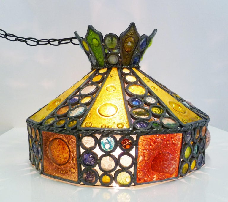 Art Glass 1950s Multi-Color Fused Glass Pendant in the Style of Higgins For Sale