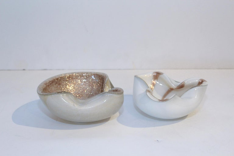 Hand-Crafted 1950s Murano Art Glass Aventurine Bowls or Ashtrays by Alfredo Barbini, Italy For Sale