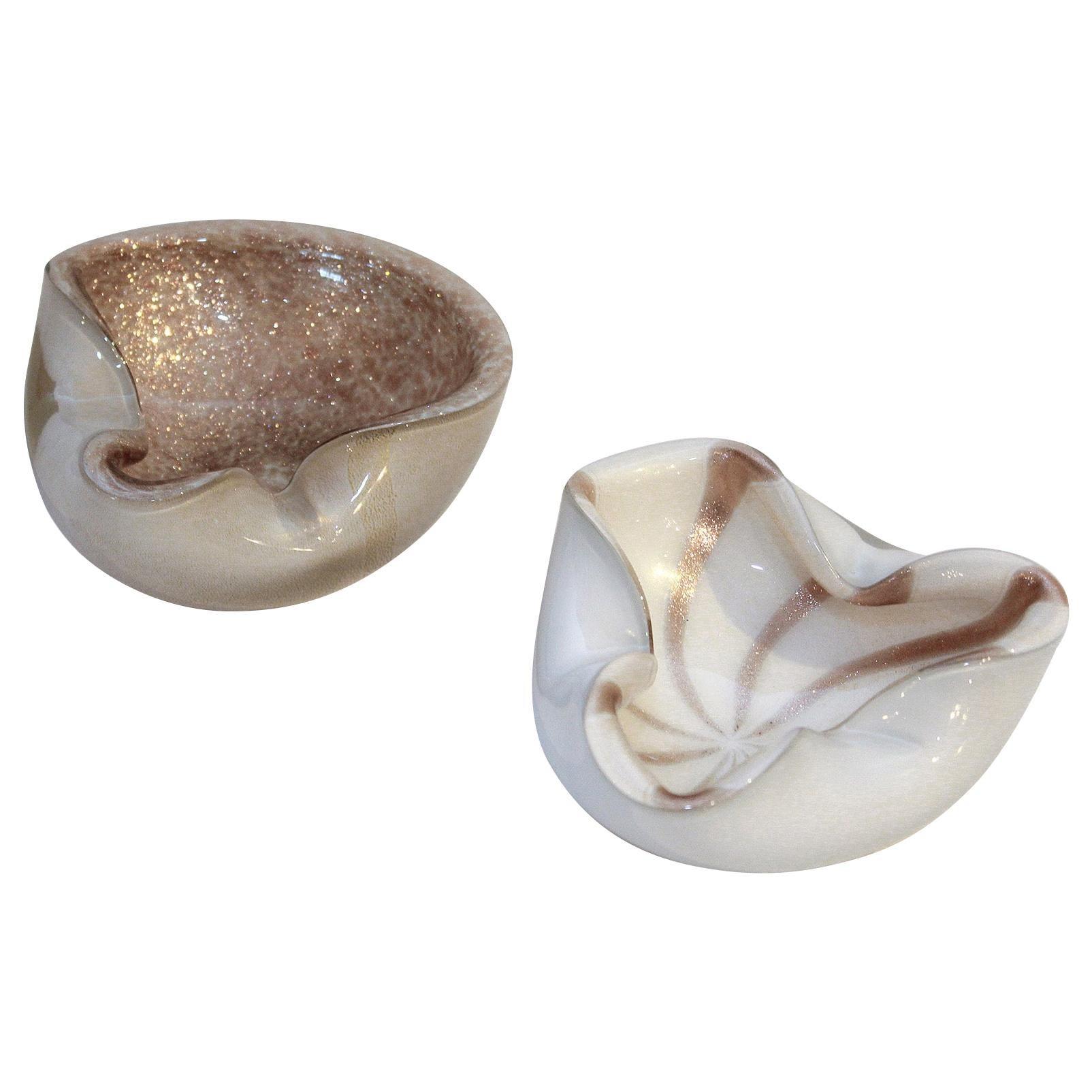 1950s Murano Art Glass Aventurine Bowls or Ashtrays by Alfredo Barbini, Italy