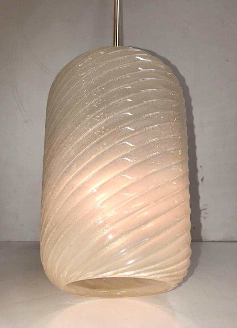 Mid-Century Modern 1950s Murano Aventurine Blown Glass Pendant Light For Sale