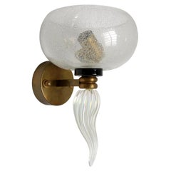 1950s Murano Clear Glass and Brass Sconce