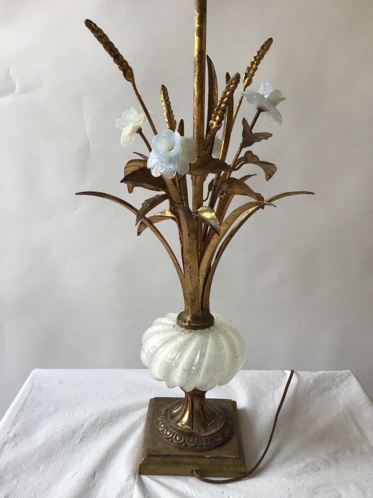 1950s Murano glass floral table lamp. Giltwood base, gilt metal leaves, marked made in Italy.