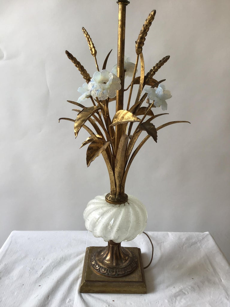 1950s Murano Glass Floral Table Lamp For Sale 1