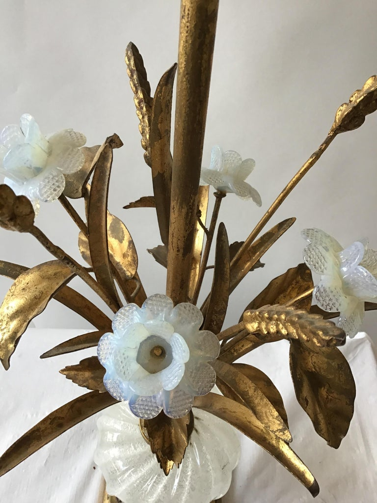 1950s Murano Glass Floral Table Lamp For Sale 4