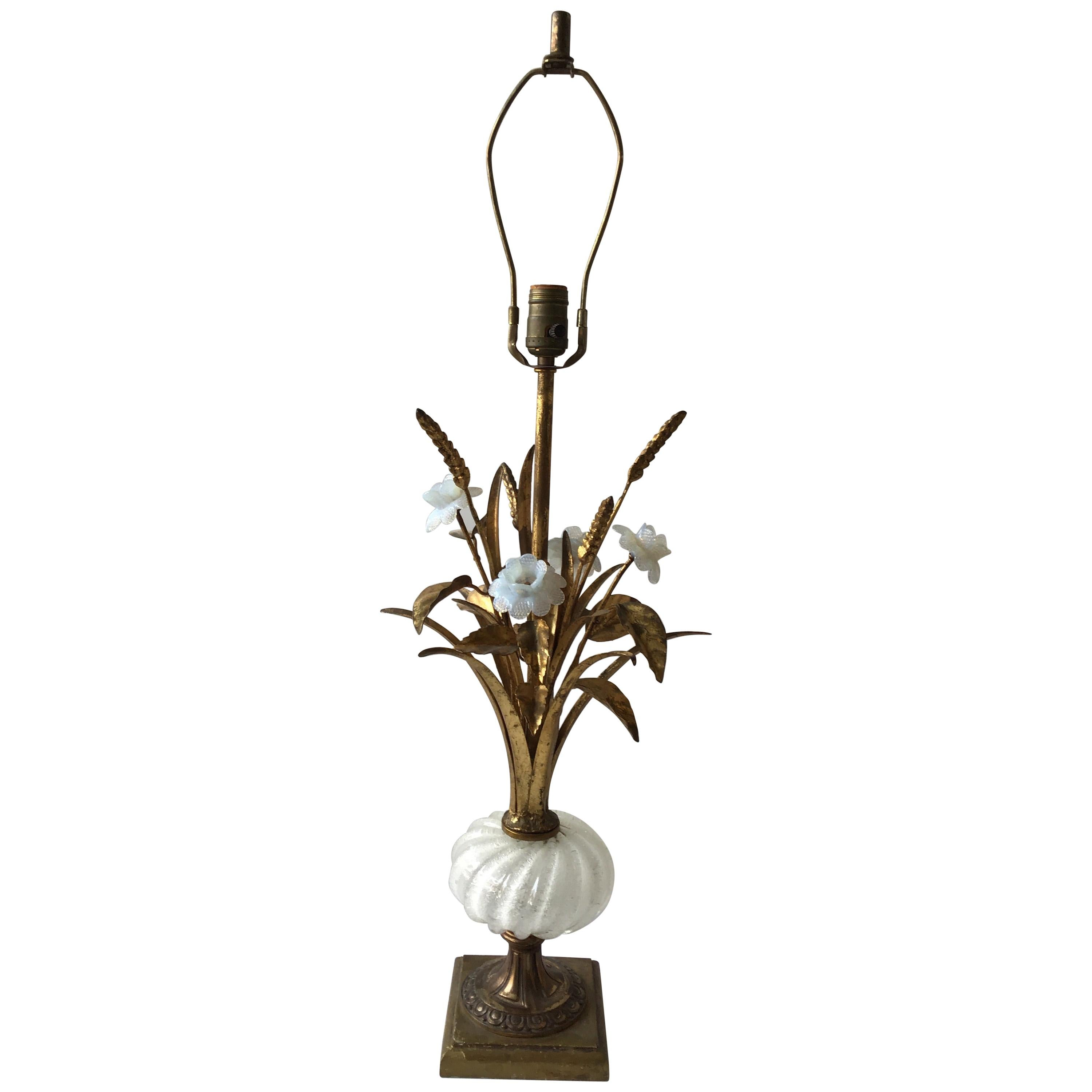 1950s Murano Glass Floral Table Lamp