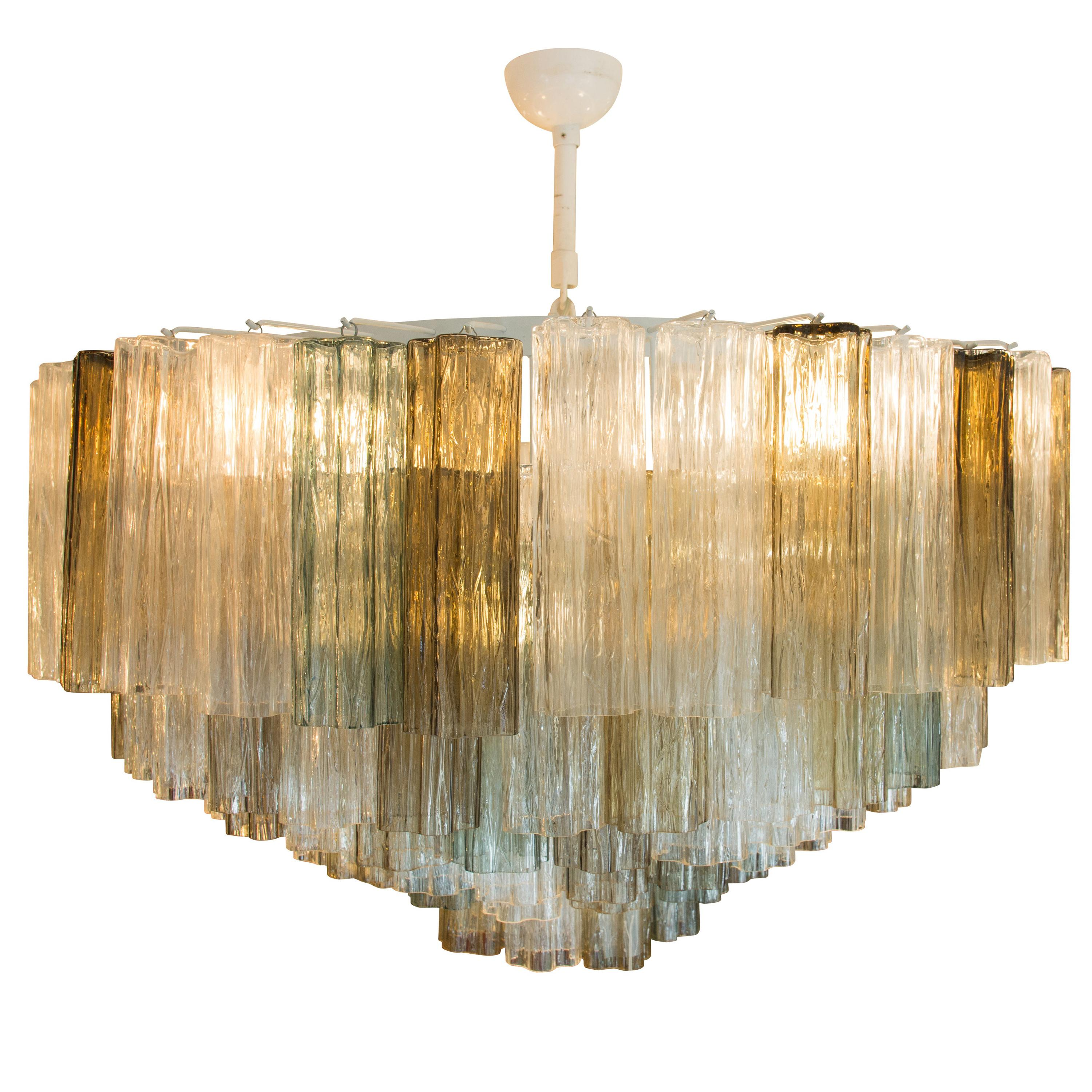 1950s Murano Tronchi Ceiling Light Clear Smoked Amber Blown Glass Components