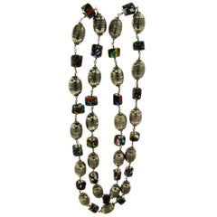 1950s Murrhine Silver Beaded Necklace