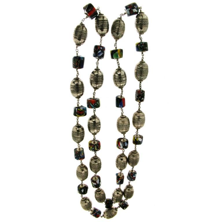 Murrhine Silver Beaded Necklace