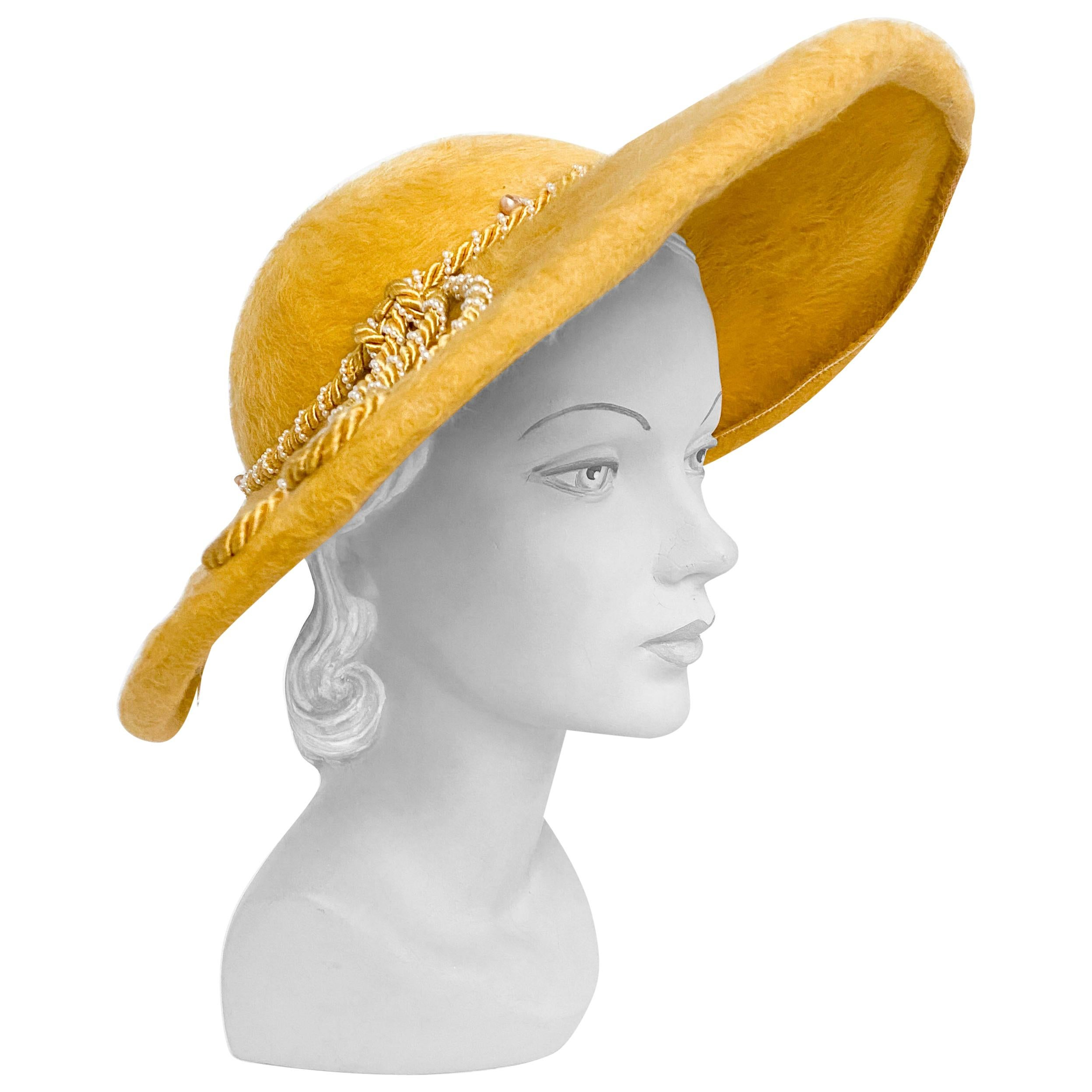 1950s Mustard Yellow Felt Picture Hat with Cording Accents