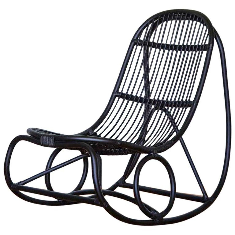 Pleasing 1950S Nanna Ditzel Design Black Rattan Rocking Chair Beatyapartments Chair Design Images Beatyapartmentscom
