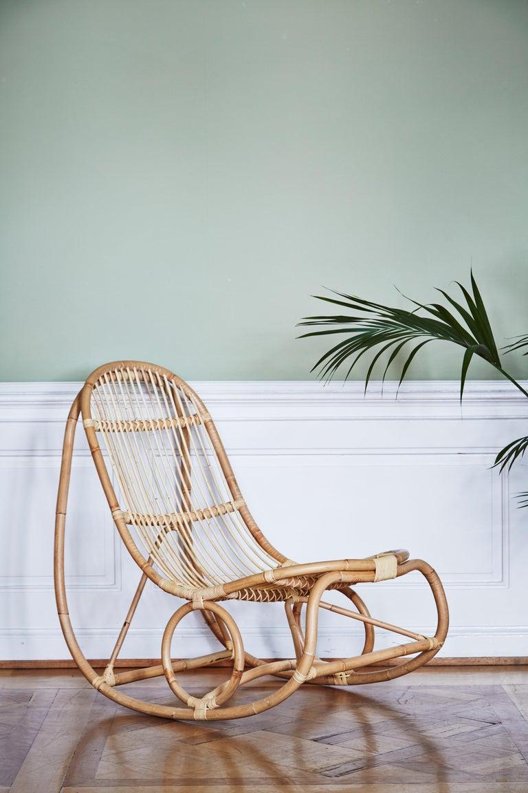 Danish 1950s Nanna Ditzel Design Rattan Rocking Chair For Sale