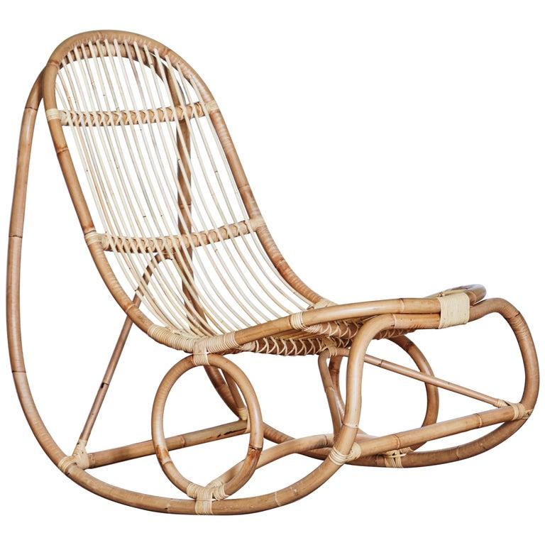 1950s Nanna Ditzel Design Rattan Rocking Chair For Sale