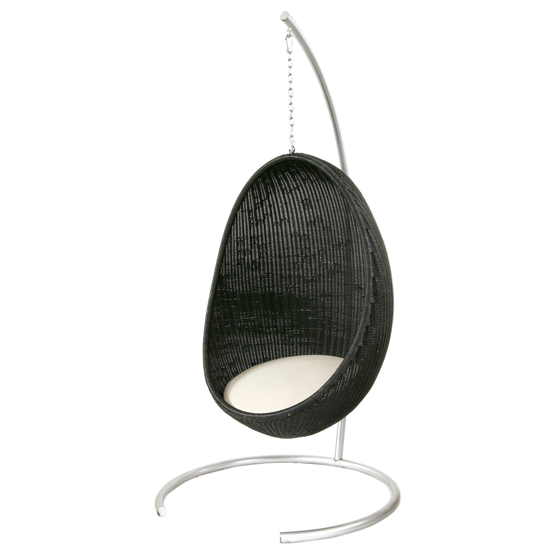 1950s Nanna & Jorgen Ditzel Design Hanging Outdoor Black Egg Chair